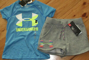 Under Armour blue big logo top & logo shorts NWT girls' XS YXS