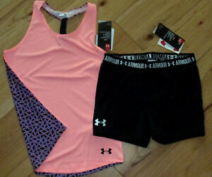 Under Armour patterned tank top & black bike shorts NWT girls' L YLG