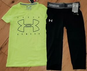 Under Armour neon fitted logo top & black patterned shorts NWT girls' M YMD