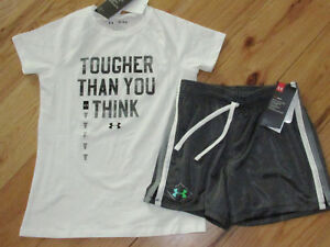 Under Armour Tougher Than You Think top & black patterned shorts NWT girls M YMD