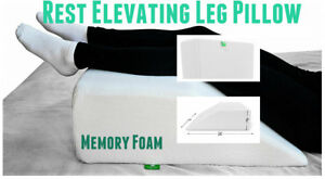 Rest Elevating Leg Bed Wedge Pillow W Memory Foam Back KneeFoot Pain Relief
