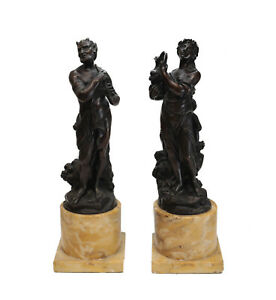 Continental Pair Bronze on Sienna Marble Sculptures 19th C. Satyr Nymph Beauty $1650.00