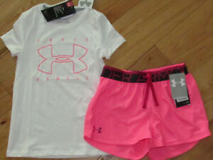 Under Armour white fitted logo top & pink shorts NWT girls' M YMD medium $32.99