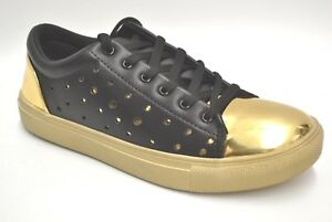 Mens Black and Gold Designer Metallic Sneakers by Henry Ferrera