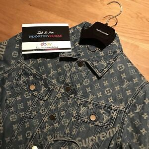 LOUIS VUITTON SUPREME DENIM TRUCKER JACKET 44 SMALL AUTHENTIC LV MENS MEDIUM