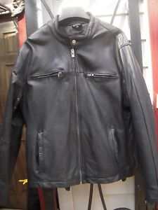 Guess Genuine Leather Black Motorcycle Cafe racer Biker Moto Jacket Mens Sz L 44