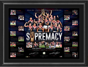 Sydney Roosters 2018 NRL Premiers Dual Signed Lithograph Framed