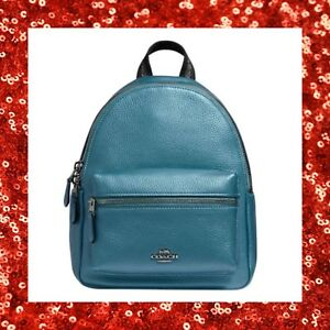 COACH Metallic Pebble Leather Mini Charlie Backpack Purse F29795 SKY BLUE