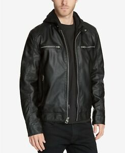 $225 GUESS Men's Faux-Leather Detachable-Hood Motorcycle Jacket Small Black