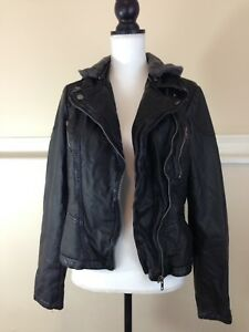*Free People* Women's Vegan Leather Cropped Jacket w Hoodie ~Size 10~ Black