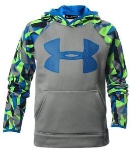 Under Armour Storm big logo hoodie NWT boys' L YLG gray patterned sleeves $24.29