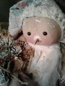 PRIMITIVE LITTLE Snow Gal doll FolkArt Christmas Holiday Doll