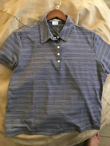 NIKE Golf FIT DRY DRI WOMENS SHIRT Striped Purple 256833  Buttons Top NEW FitDry