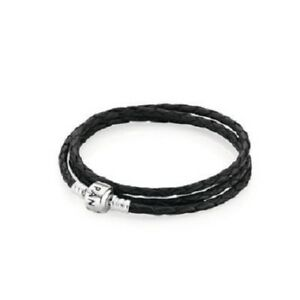 Pandora Triple Black Leather Bracelet Size 22.4