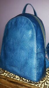 NWT American Leather Co Knoxville Backpack Purse Navy Blue Embossed Leather