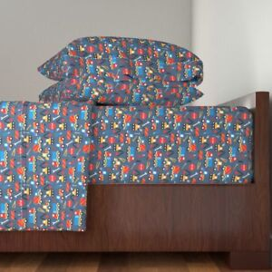 Construction Boys Tools Truck Car Crane Cotton Sateen Sheet Set by Roostery
