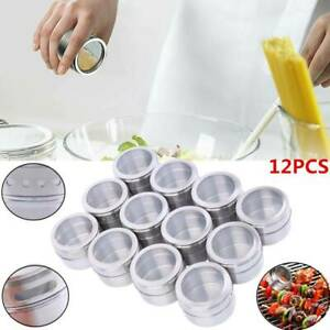 12pcs Magnetic Stainless Steel Spice Pot Herb Jar Storage Sauce Container Home