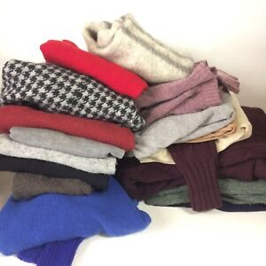Craft Cutter Sweaters Lot of 17 Wool FLAWS Holes Stains Felting 14lbs