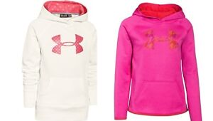 GIRLS UNDER ARMOUR 2 x LARGE YOUTH HOODIE SWEATSHIRT ~ PINK IVORY NWT
