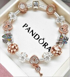 Authentic Pandora Silver Charm Bracelet ROSE & WHITE GOLD LOVE European Beads