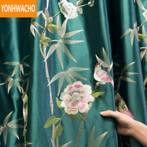 high grade luxury Chinese green embroidery cloth blackout curtain drape N990