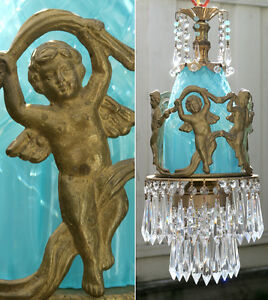 Lamp Chandelier SWAG Vintage bronze Dancing Cherub crystal prism beaded brass