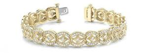 NEW 14K YELLOW GOLD AND DIAMOND VINTAGE DESIGN BRACELET JEWELRY 4.08cts