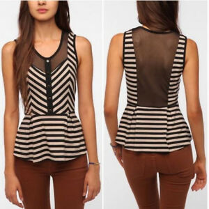 Urban Outfitters PINS AND NEEDLES Small S Peplum Tank Top Striped Mesh Panel