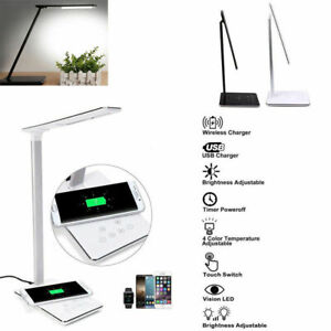 Multi-functional USB Charge LED Desk Lamp Table + QI Wireless Phone Charger Home