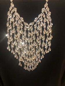 CEZANNE Stunning Sparkling Cascading Crystal Silvertone Bib Necklace-$138-NWT!