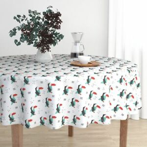 Round Tablecloth Toucan Animals Penguin Winter Tropical Summer Cotton Sateen