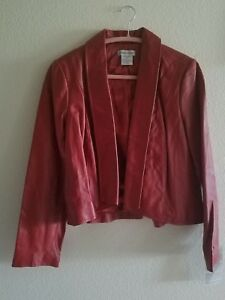 Women's Jessica London Cooper Red Leather Crop Jacket Size 14 EUC