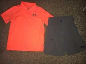 Boys Under Armour Grey Cargo Golf Shorts  Orange Shirt Outfit Youth XS X-small