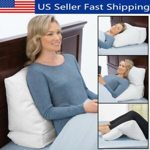 Bed Large Wedge Pillow for Sleeping on Back Acid Reflux and Legs Foot Elevation