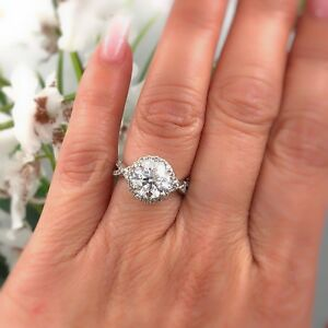 Diamond Engagement Ring Halo Design Rounds 2.95 tcw 14k White Gold $20000 Value