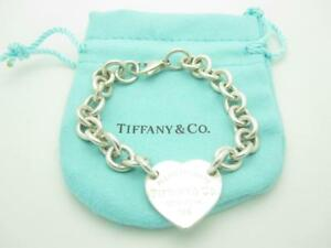 Return To Tiffany & Co Sterling Silver Center Heart Tag Chain Link Bracelet 7.5