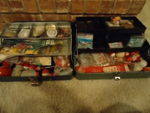 Lot of 2 VINTAGE LOADED Tackle Boxes Fishing Bobbers Lures Weights Hooks
