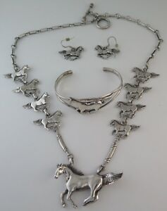 Solid Sterling Silver Relief Running Horse Necklace Bracelet Earrings Set