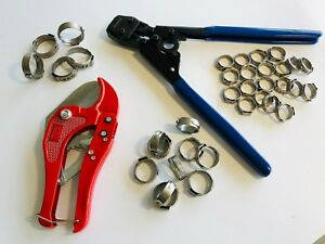 Pex Pipe Tube Crimping tool Kit Pipe cutter +35 Rings Cinch Clamps(Certified)