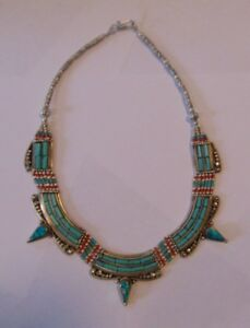 Vintage Sterling Silver Turquoise and Coral Tibet Necklace