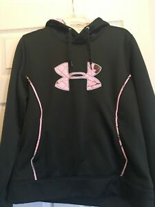 Under Armour Youth Girls Realtree Green Camo Hoodie Coldgear XL lined pink