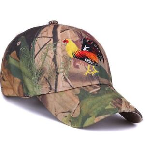 Mens Baseball Cap Camo Outdoor Hunting Embroidery Pheasant COCK FIGHT by AKIZON