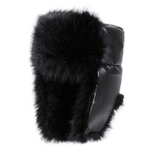 Bomber Winter Hat Black for Men & Women PU Leather Fur Trapper Hats by AKIZON