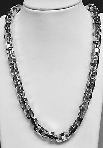 18k Solid White Gold Mariner Anchor Bullet Chain Necklace 10.5 MM 280 grams 24