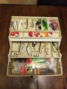 PLANO TACKLE BOX FULL OF  BASS BAITS AND OTHER LURES.  TWO TRAYS SEE PICTURES!!