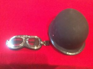 German US Kevlar Style Motorcycle Helmet Matte Black with Goggles