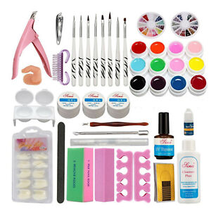 Nail Art DIY Full Tool Set 12 Color UV Builder Gel Brush Pen Nail Tips Top Coat $30.16