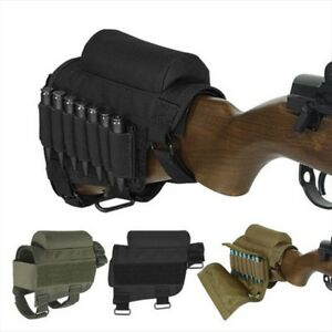 Adjustable Tactical Hunting Butt Stock Rifle Cheek Rest Pouch Bullet Holder Bag