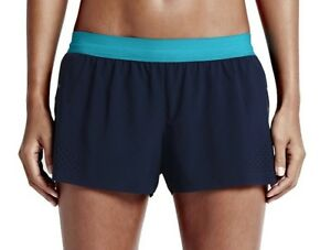 NIKE RUN SPEED DRY-FIT WOMENS RACE RUNNING SHORTS BLUE SIZE L 686005-410 GYM