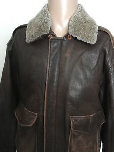 ROUNDTREE & YORKE LAMB SKIN JACKET Brown SOFT LEATHER Lamb Fur Skin Collar LARGE